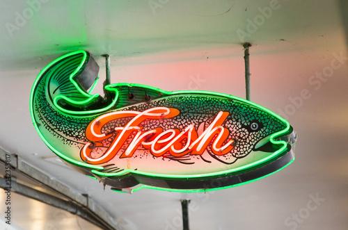 Fotografie, Obraz  Neon Fresh Fish Sign