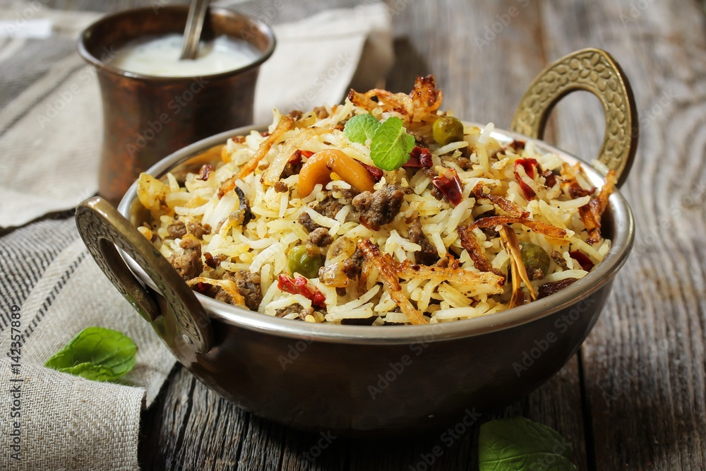 Fototapety, obrazy: Keema /  Kheema  Biryani -Basmati rice cooked with minced meat and aromatic spices, selective focus