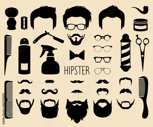 Αφίσα Vector set of dress up with men hipster haircuts etc