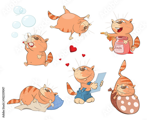 Papiers peints Chambre bébé Set of Cartoon Illustration. A Cute Cats for you Design