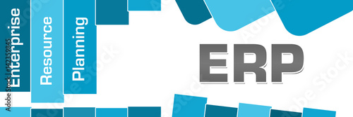 Fotografie, Obraz  ERP - Enterprise Resource Planning Blue Stripes Rounded Squares