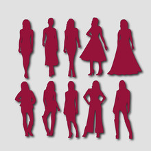Red Silhouette Of Fashionable Women