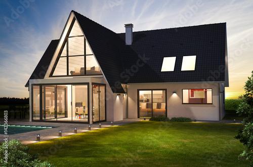 Belle maison moderne de nuit avec piscine - Buy this stock ...