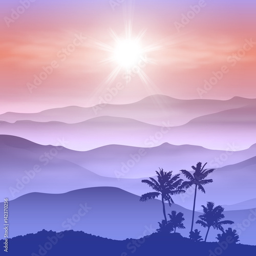 Poster Bleu nuit Background with palm tree and mountains in the fog
