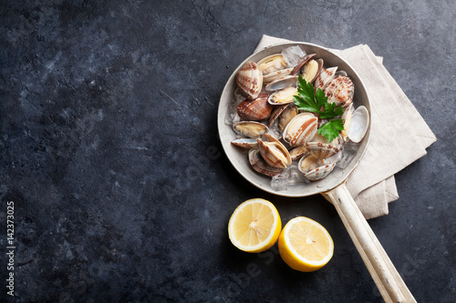 Poster Coquillage Fresh seafood. Scallops
