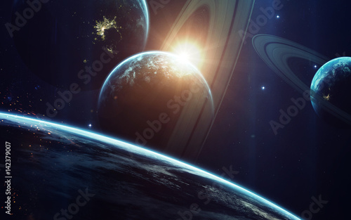 Deurstickers Nasa Cosmic art, science fiction wallpaper. Beauty of deep space. Billions of galaxies in the universe. Elements of this image furnished by NASA