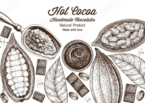 Fotografía  Vector illustration frame with cocoa products