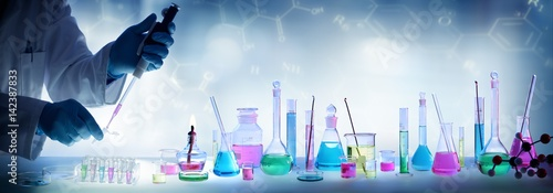 Analysis Laboratory - Scientist With Pipette And Beaker - Equipment Chemical Wallpaper Mural