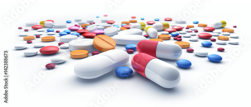 Photo sur Aluminium Pharmacie Tabletten-Flut