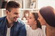 Leinwandbild Motiv Happy young family