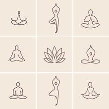 Yoga Icons / Set Of Outline Ic...