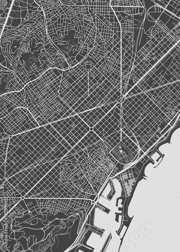 Fototapeta Barcelona city plan, detailed vector map