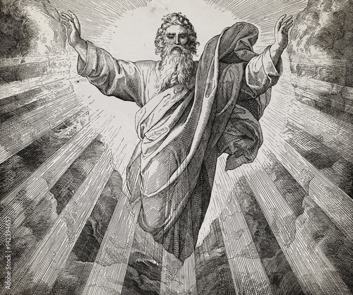 Obraz na płótnie God creator creating the world, graphic collage from engraving of Nazareene School, published in The Holy Bible, St
