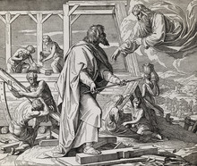 God Giving Instructions How Tho Build The Ark To Noah And His Family, Graphic Collage From Engraving Of Nazareene School, Published In The Holy Bible, St.Vojtech Publishing, Trnava, Slovakia, 1937.