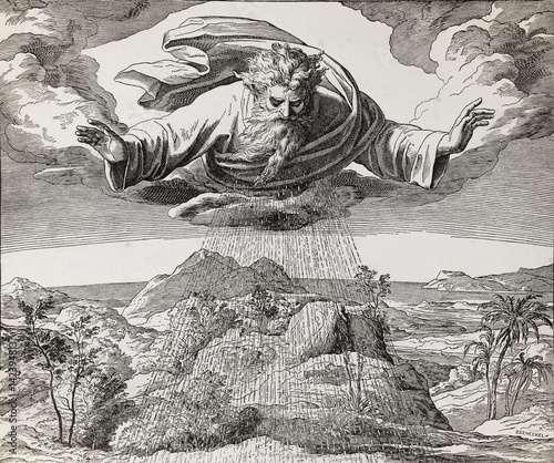 Foto God creator creating the water and earth, graphic collage from engraving of Nazareene School, published in The Holy Bible, St