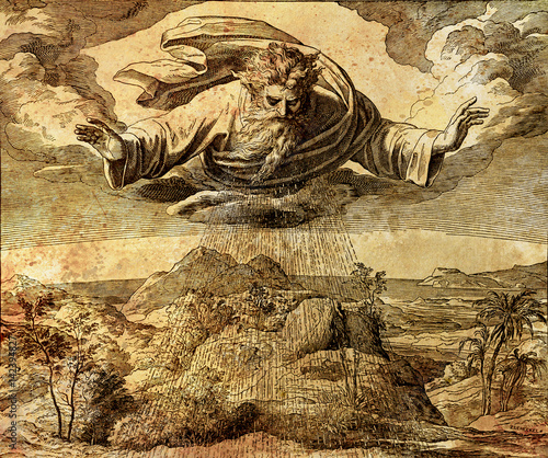 Fotografie, Obraz  God creator creating the water and earth, graphic collage from engraving of Nazareene School, published in The Holy Bible, St
