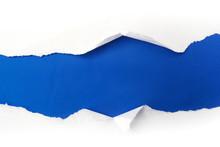Torn White Paper On Blue Backg...