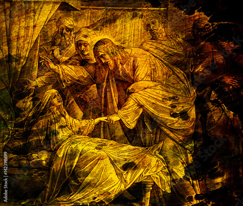 Canvas-taulu Jesus heals Jairus´ daughter, graphic collage from engraving of Nazareene School, published in The Holy Bible, St