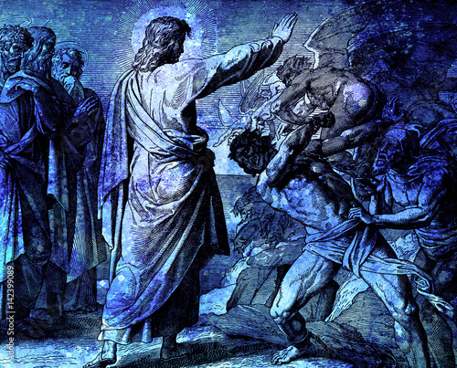 Jesus restores possesed man, graphic collage from engraving of Nazareene School, published in The Holy Bible, St Canvas Print
