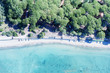 Overhead panoramic view of mediterranean coastline and pinewood