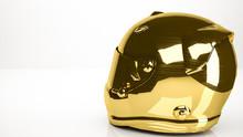 Golden 3d Rendering Of A Helmet Inside A Studio