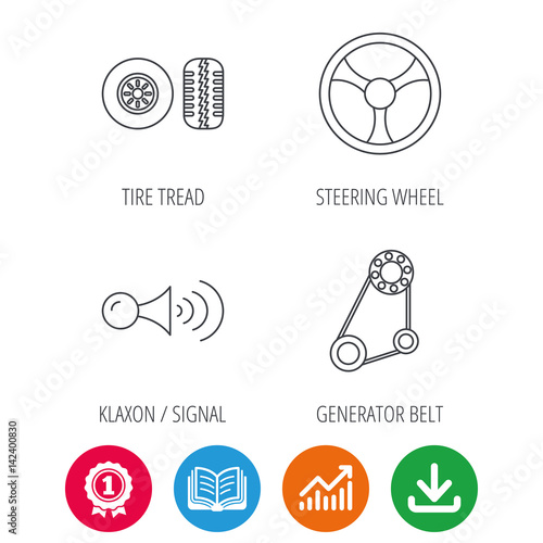 klaxon signal tire tread and steering wheel icons generator belt