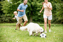 Familie Und Kind Spielen Fußb...
