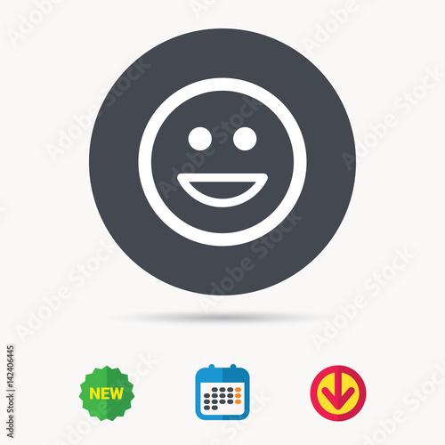 Happy smile icon  Smiley laugh emoticon symbol  Calendar