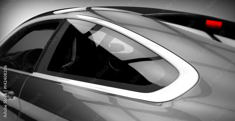Fototapety, obrazy: Generic brandless sports car closeup detail (with grunge overlay) - 3d illustration