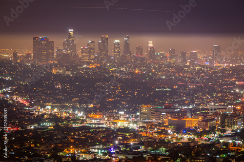 Poster Los Angeles Night view of Los Angeles downtown, California, USA