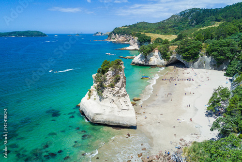 Aerial of Te Whanganui-A-Hei (Cathedral Cove) Marine Reserve in Coromandel Peninsula North Island, New Zealand.