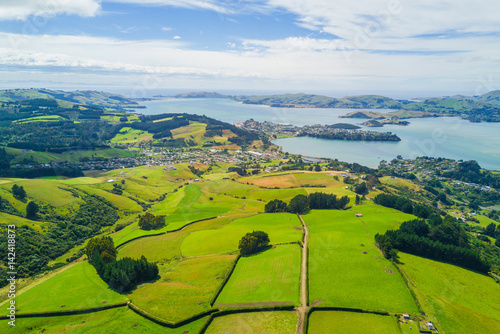 Aerial Dunedin Town and Otago Bay, New Zealand
