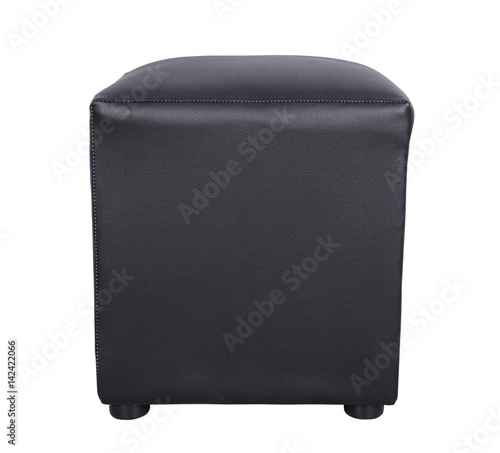Stampa su Tela black leather foot stool isolate on white background