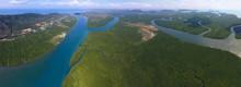 Aerial Panorama View On Estuar...