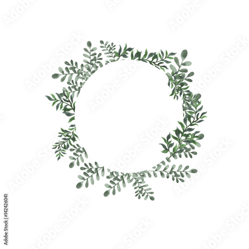 Abstract Green Leaf Round Frame On White Background Design For