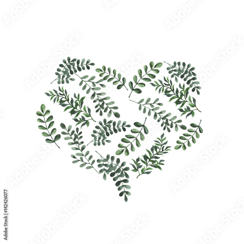 Abstract Green Leaf Heart On White Background Design For Wedding