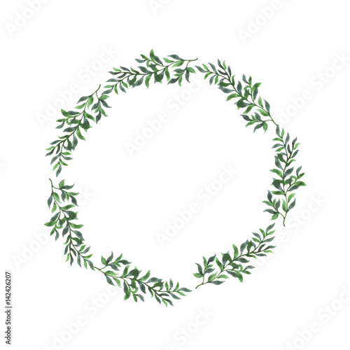 abstract green leaf border on white background design for wedding