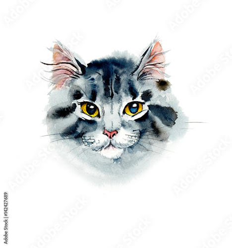 Photo sur Toile Croquis dessinés à la main des animaux Kitten. Watercolor hand drawn illustration