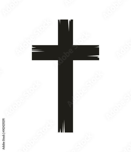 Fototapeta christian cross icon over white background