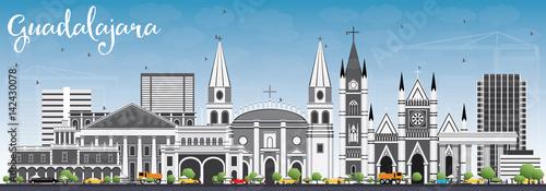 Guadalajara Skyline with Gray Buildings and Blue Sky.