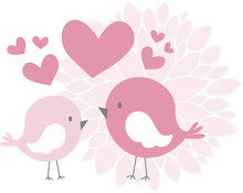 Cute Love Birds With Hearts An...