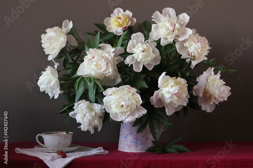 still life with white peonies in pitcher - 142437640