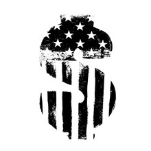 Dollar Sign. Black On White Vector Isolated Symbol. American Flag Shaped Silhouette. Grunge, Style Illustration.