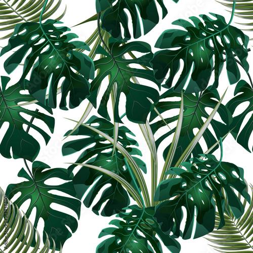 Materiał do szycia Dżungli. Zielone zarośla palmy tropikalny liści i monstera. Kwiatowy wzór. Na białym tle na białym tle. ilustracja