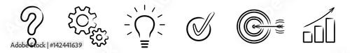 Fotomural  Vektor-Iconset: Fragezeichen, Zahnräder, Glühlampe, Check, Zielscheibe, Diagramm