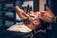 Barber Shaving Bearded Male Wi...