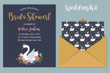Wedding Set With Swan Illustra...