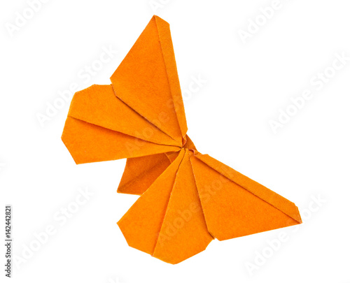 Fototapeta  Orange butterfly of origami, isolated on white background. Stock