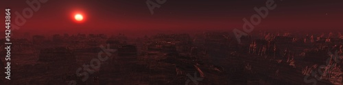 Garden Poster Brown Sunset on Mars, Martian landscape, panorama of Mars, 3D rendering