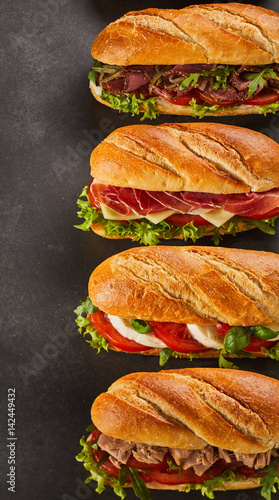 Staande foto Snack Set of four deli style sandwiches